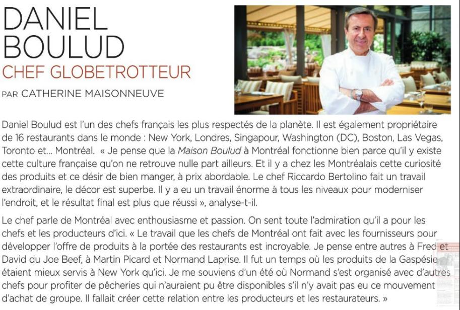 Daniel Boulud, Chef globetrotteur